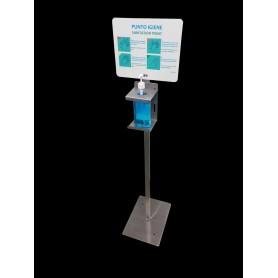 Hydro-tower für gel-handdesinfektionsmittel - smart-edelstahl - mit schild-info