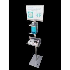 Hydro-tower für gel-handdesinfektionsmittel - top-edelstahl - c/schild info-verl.handschuhe